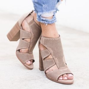 RORY Cut Out Booties - Lt. Taupe